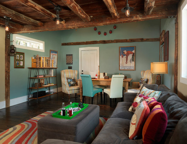 Farmhouse Family Room by Mandeville Canyon Designs