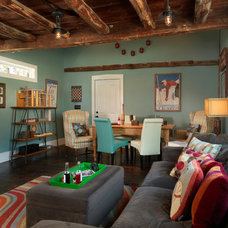 Farmhouse Family Room by Mandeville Canyon Design