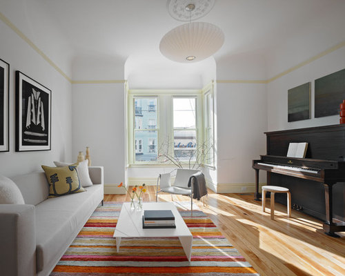 Inspiration For A Large Contemporary Family Room Remodel In San Francisco  With A Music Area And Part 87