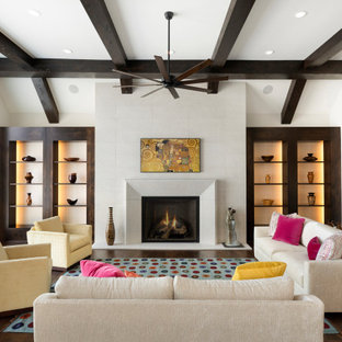 Large transitional open concept dark wood floor, brown floor, exposed beam and vaulted ceiling family room photo in Minneapolis with white walls, a standard fireplace and a tile fireplace
