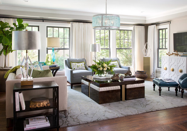 Transitional Family Room by Laura Lee Home