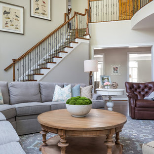Inspiration For A Transitional Open Concept Dark Wood Floor And Brown Floor  Family Room Remodel In