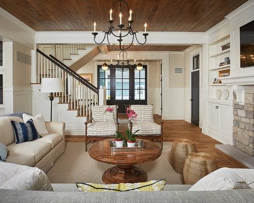 Mid Sized Coastal Open Concept Medium Tone Wood Floor Family Room Photo  With A Standard