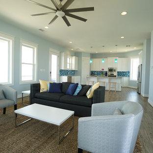 ヒューストンの中サイズのコンテンポラリースタイルのおしゃれなファミリールーム (青い壁、無垢フローリング、暖炉なし、壁掛け型テレビ) の写真