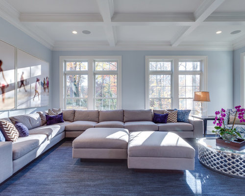 Inspiration For A Transitional Open Concept Family Room Remodel In DC Metro  With Blue Walls