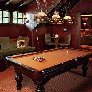 Family room - rustic family room idea in Denver