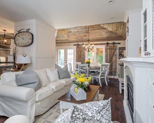 Houzz Shabby Chic Style White Family Room Design Ideas