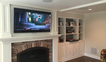 "65"" 4K LED TV over Fireplace with in-ceiling 5.1 Surround System"