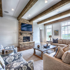 Transitional Family Room by Toulmin Homes