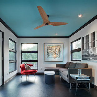 Ejemplo de sala de estar contemporánea, sin chimenea y televisor, con suelo de linóleo y paredes blancas