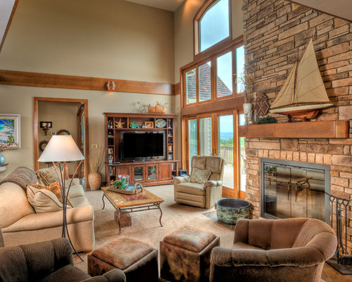 Example Of A Classic Carpeted And Beige Floor Living Room Design In  Cleveland With Beige Walls