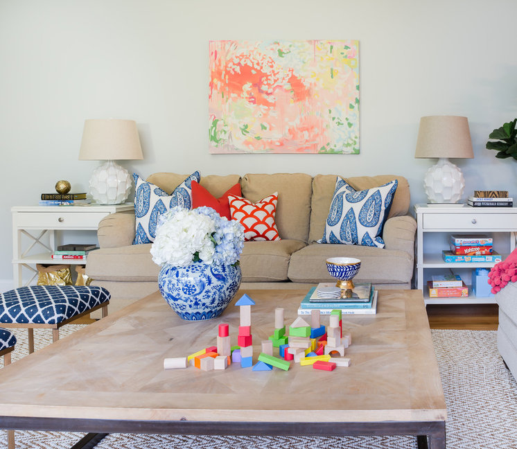 Transitional Family Room by Honey & Fitz