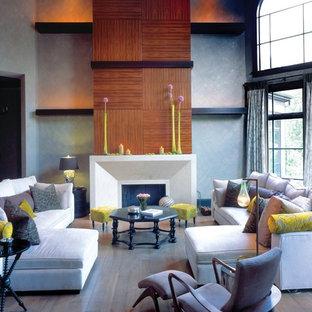 Imagen de sala de estar actual con paredes grises