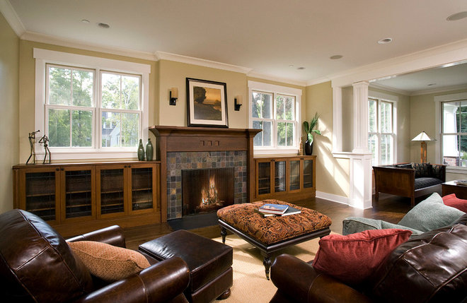 Craftsman Family Room by Troy Mock Architects