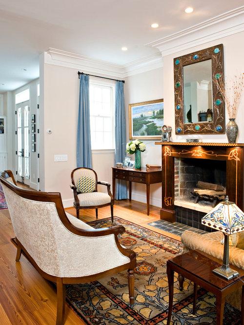 Art Nouveau Furniture Example Of A Classic Medium Tone Wood Floor Family Room Design In DC Metro With Beige