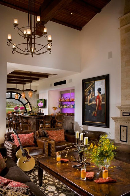 Mediterranean Family Room by South Coast Architects, Inc.