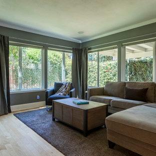Idée de décoration pour une salle de séjour design de taille moyenne et ouverte avec un mur gris, un sol en bois clair, un téléviseur indépendant et un sol marron.