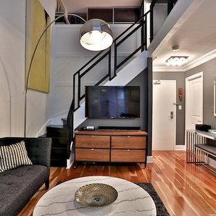 Foto de sala de estar tipo loft, clásica renovada, pequeña, sin chimenea, con paredes grises, suelo de madera clara y televisor colgado en la pared