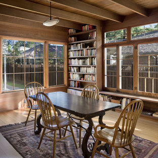 Trendy family room library photo in San Francisco