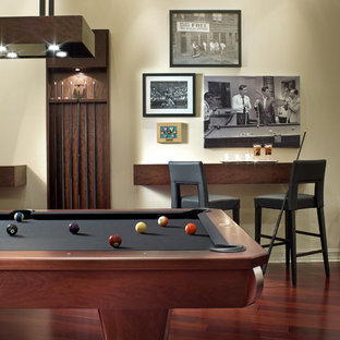 Trendy game room photo in Detroit with white walls