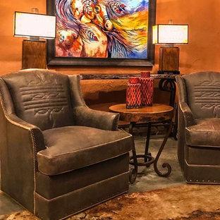 Foto di un soggiorno american style di medie dimensioni e chiuso con pareti arancioni, pavimento con piastrelle in ceramica, nessun camino, nessuna TV e pavimento beige