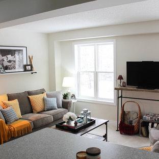 Diseño de sala de estar abierta, actual, pequeña, sin chimenea, con paredes blancas, televisor independiente, moqueta y suelo gris