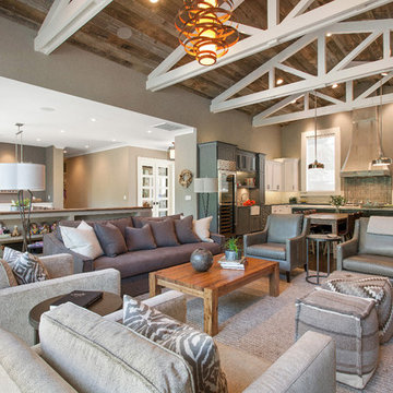 Alamo, CA. Farmhouse. Full Service Design Firm. Open concept living room and kit
