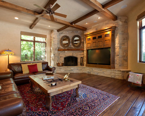 Example Of A Mid Sized Transitional Dark Wood Floor Family Room Design In  San Francisco Part 86