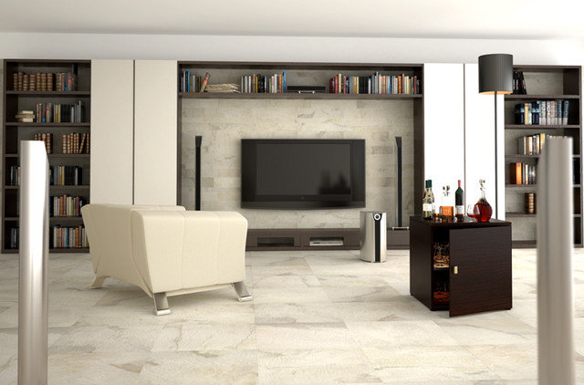 Contemporary Family Room by Cercan Tile