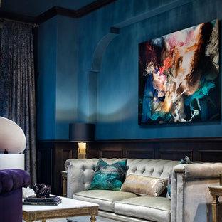 Foto di un ampio soggiorno chic aperto con sala della musica