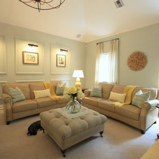 Transitional Family Room by IN Studio & Co. Interiors
