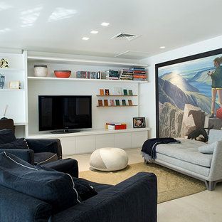 Example of a trendy loft-style family room design in Tel Aviv with white walls and a tv stand