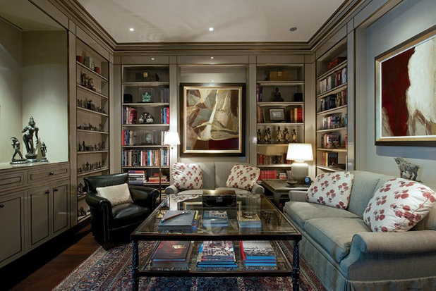 Transitional Family Room by Architecture BRIO