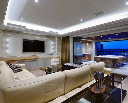 Beige Leather Sectional | Houzz
