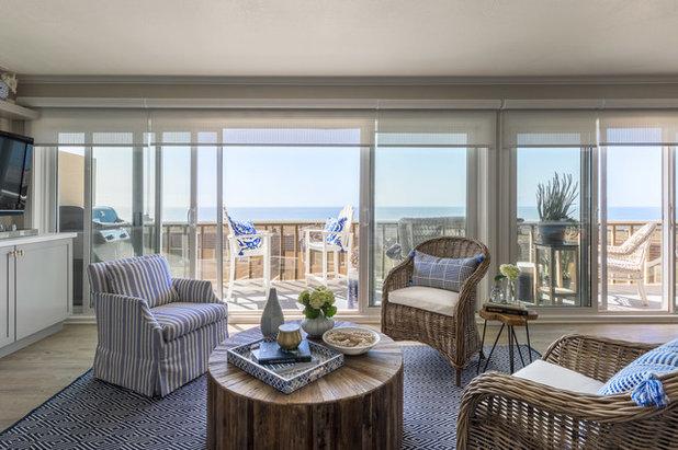Beach Style Family Room by Leslie Harris-Keane Interior Design