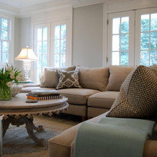 Traditional Family Room Aqua and Grey Family Room