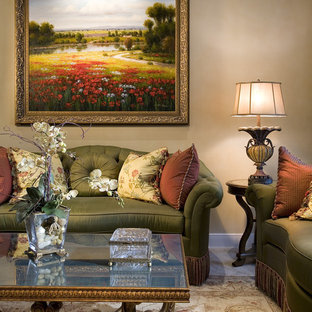 Family room - traditional family room idea in Miami with beige walls