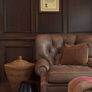 Inspiration for a timeless family room remodel in San Francisco with brown walls