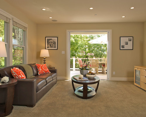 example of a trendy family room design in san francisco with beige walls carpet and