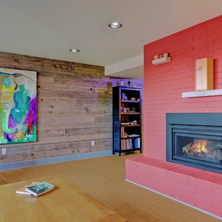 Large trendy enclosed cork floor family room photo in Seattle with multicolored walls, no fireplace and no tv