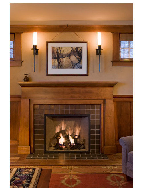 Arts and crafts family room photo in San Francisco - Fireplace Mantel Legs Houzz