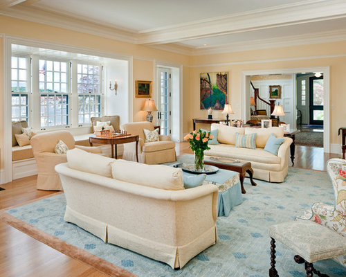 Large Elegant Open Concept Medium Tone Wood Floor And Beige Floor Family  Room Photo In Boston