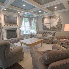 Farmhouse Family Room by Synergy Design & Construction
