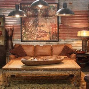 サンルイスオビスポの中サイズのアジアンスタイルのおしゃれな独立型ファミリールーム (マルチカラーの壁、コンクリートの床、暖炉なし、テレビなし、グレーの床) の写真