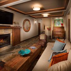 Rustic Family Room by Spirit Tahoe Interior Design & Gallery
