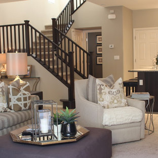 Example of a small trendy open concept porcelain floor family room design in Las Vegas with gray walls and a wall-mounted tv