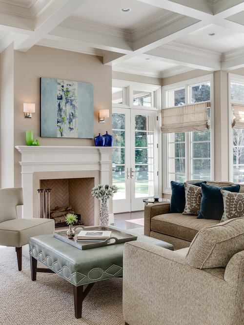 Inspiration for a timeless family room remodel in San Francisco with beige  walls and no tv
