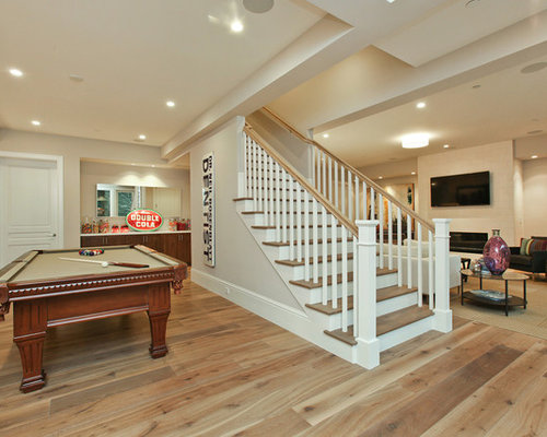 Basement stairs houzz for Basement floor plans with stairs in middle