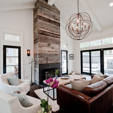 Transitional Family Room by Heirloom Design Build