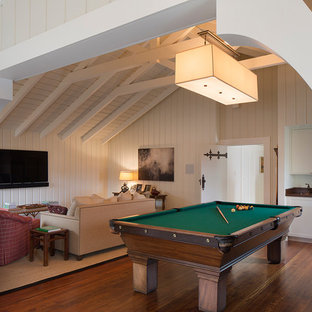 Game room - large transitional enclosed dark wood floor game room idea in San Francisco with white walls and a wall-mounted tv